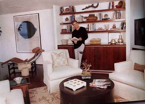 Ricky in what appears to be the TV area of his house in Santa Maria, Brickell, Miami